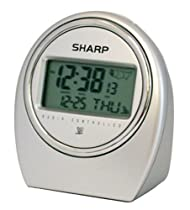 Sharp SPC364 Atomic LCD Bedside Alarm Clock (Silver)