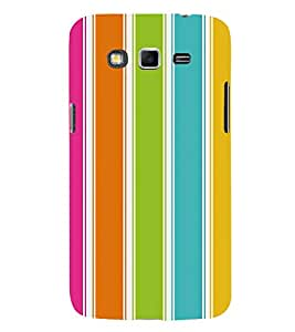 Printvisa Bright Coloured Striped Design 3D Hard Polycarbonate Designer Back Case Cover For Samsung Galaxy Grand 3 G720