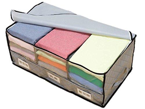 ☆炭入り 収納ケース<仕切り付き>☆ 大切な衣類や小物を消臭しながら保管できる!畳んでそのまま入れるだけ♪(不織布 3層生地・グレー)