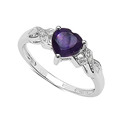 The Amethyst Ring Collection: 9ct White Gold 1.00Ct Amethyst Heart Engagement Ring with Diamond Shoulders