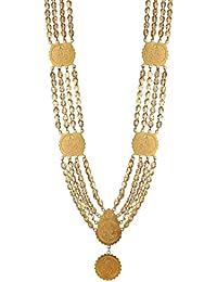 Awww Traditional Gold-Plated Temple Coin Necklace Set For Women