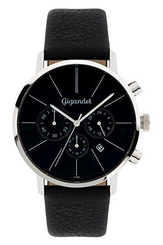 Gigandet Herren-Armbanduhr Minimalism Quarz Chronograph Uhr Datum Analog Lederarmband Schwarz G32-002
