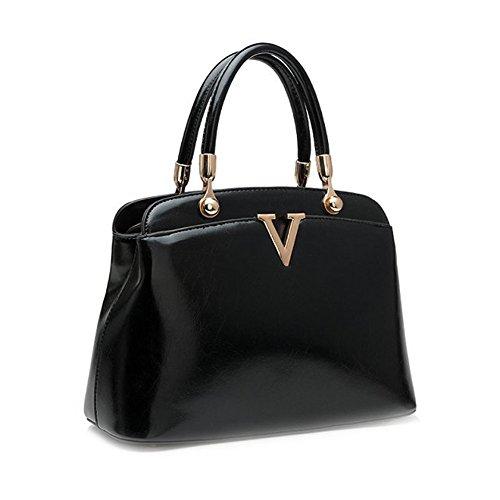Fashion Pu Leather Clutch Cross-Body Shoulder Handbag 0353153 (Black)