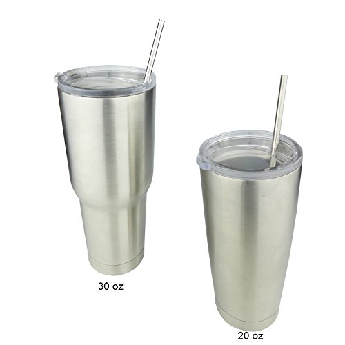 """EHME Set of 4 Stainless Steel Straight Drinking Straws for 20 oz & 30 oz YETI ,RTIC ,ORCA and More Brand Tumblers Rambler Cups,Free Cleaning Brushes Included(9.5""""L)"""