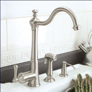 Brushed Nickel Single Handle Kitchen Faucet with Sprayer plus Soap Pump