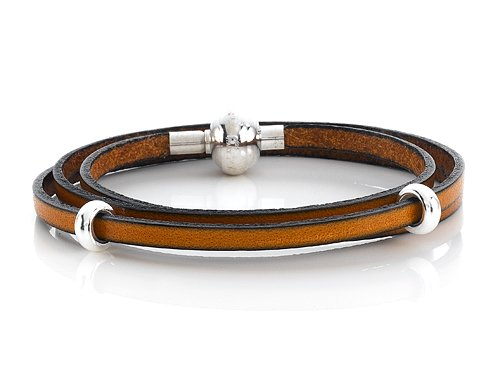Zable(tm) 22 inches Sterling Silver Tan Leather