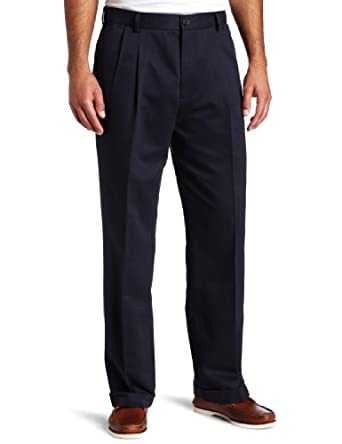 Dockers Men's Comfort Waist Khaki D3 Classic Fit Pleated-Cuffed Pant, Navy, 29 30