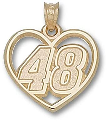 Jimmie Johnson Driver Number 48 Heart Pendant - 14KT Gold Jewelry by Logo Art