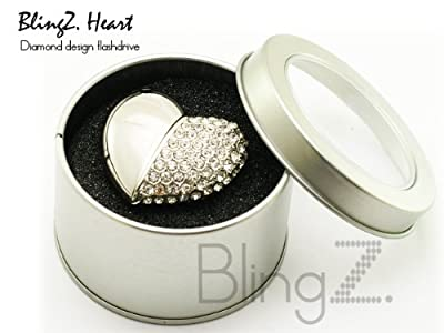 TheBlingZ 8GB Cute Bling Heart Jewellery Jewelry USB Flash Drive Disk Memory with Simulated DIAMOND Crystals -Ideal Great Gift by TheBlingZ