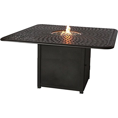 Darlee Counter Height Propane Fire Pit Dining Table Antique Bronze