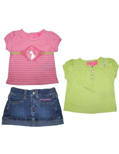 3 Piece Set: Baby Phat Infant Girls T Shirt & Denim Skirt 12M Multicolor front-327894