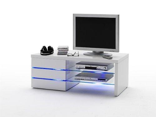 Robas-Lund-59057W11-TV-Lowboard-Sonia-Hochglanz-wei-Klarglas-3-Schubksten-LED-Effektbeleuchtung-blau-BTH-circa-110-x-42-x-44-cm