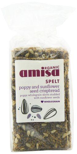 Amisa Crispbreads Organic Spelt Poppy and Sunflower 150 g (Pack of 6)