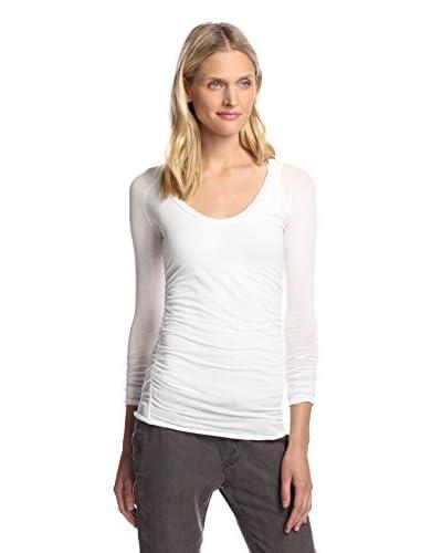 James Perse Women's Ruched Raglan Sleeve Tee  [White]