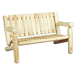 0100006 4 feet log cedar bench log furniture patio lawn garden