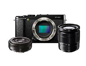 """Fujifilm XM1 Appareil photo numérique hybride 16,5 Mpix Écran LCD inclinable 3 """" Zoom optique 3x Kit Boîtier + 2 Objectifs XC 16-50mm/XF 27mm Noir"""