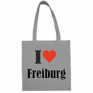 """Tasche""""I Love Freiburg""""Größe""""38x42""""Farbe""""Grau""""Druck""""Schwarz"""