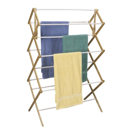 Household Essentials Folding Clothes Drying Rack, Wood Frame with Vinyl Dowels (Wood Dowel Rack compare prices)