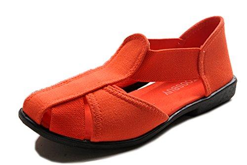TOOSBUY Women Cloth Sandals Outdoor,Beach Aqua,Rainy,Upstream,Slip on Water Shoes,Soft bottom Espadrilles Size 37 Orange