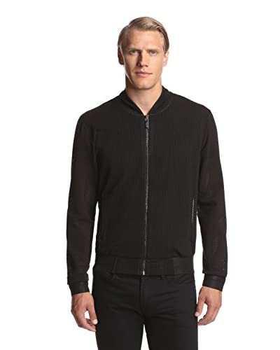 Calvin Klein Collection Men's Bonded Bicolor Mesh Black Zip Up Jacket