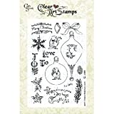 Fiskars 01 003723 Cloud 9 Design by 4 by 8 Inch Designer Clear Stamps Christmas Joy