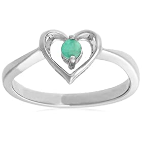 Sterling Silver Emerald Heart Ring