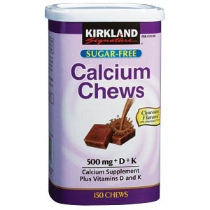 Kirkland Signature Calcium Chews 500 mg + D + K Sugar Free Chocolate Flavored