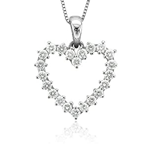 14k White Gold Heart Diamond Pendant Necklace (GH, I1-I2, 0.50 carat) by Diamond Delight