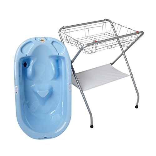 Primo Eurobath And Folding Compact Bath Stand -Blue Bath / Gray Stand