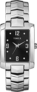 Timex Men's T2P2689J Crystal Black Rectangle Dial Silver-Tone Bracelet Watch