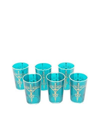 Uptown Down Set of 6 Kandie Tea Glasses, Turquoise
