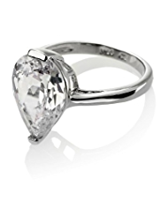 M&S Collection Platinum Plated Pear Diamanté Ring