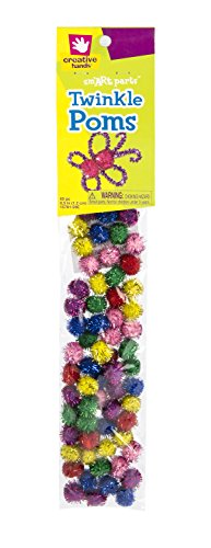 Creative Hands by Fibre-Craft - 1/2 Inch Multi Twinkle Poms 65/Pkg - Arts and Crafts -- For Ages 3 and Up - 1