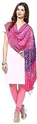 Apratim Womens Cotton pink and purple Bandhani dupatta with mirror work