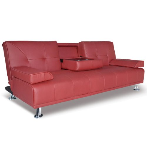Modern Faux Leather 3 Seater Sofa Bed With Fold Down Table Cup Holder 012001-D03 Red
