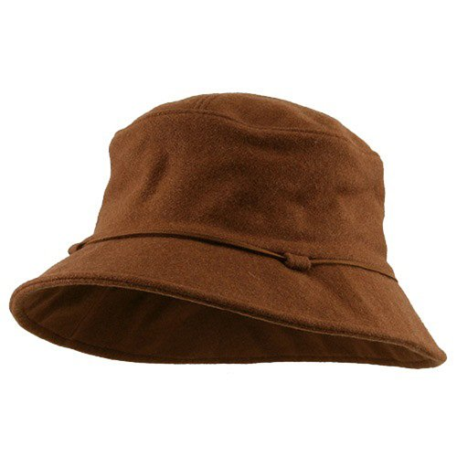 Wool Bucket String Hat-Brown W15S36B