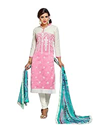 Siya Fashion women's Chanderi Party Wear Unstitched Dress Material(si721_Pink color)