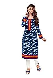 AMP IMPEX Ethnicwear Women's Kurti Fabric Blue Free Size