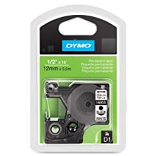 "Dymo DYM16955 D1 High Performance Labelmaker Tape Cartridge, 1/2"" Wide, 18' Long, Permanent Adhesive, Black Type, White Tape"