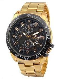 Fake Two Laps Calendar Stainless Steel Quartz Watch for Men Gold+Black