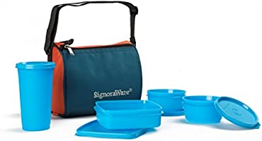 Signoraware Best Sapphire Plastic Lunch Box Set with Bag, 4-Pieces, Blue