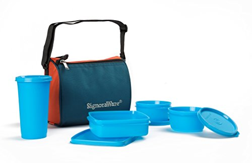 Signoraware Best Sapphire Plastic Lunch Box Set with Bag, 4 Pieces, Blue