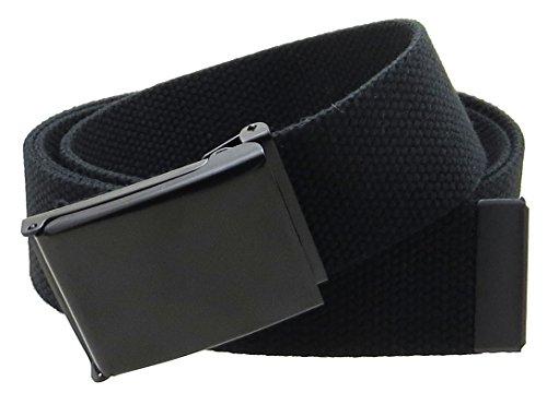 """Canvas Web Belt Flip-Top Black Buckle/Tip Solid Color 50"""" Long 1.5"""" Wide (Black)"""