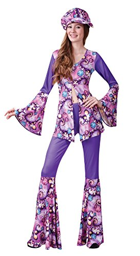 Ladies Groovy Hippy Woman Costume for 60s 70s Hippie Fancy Dress Outfit Adult