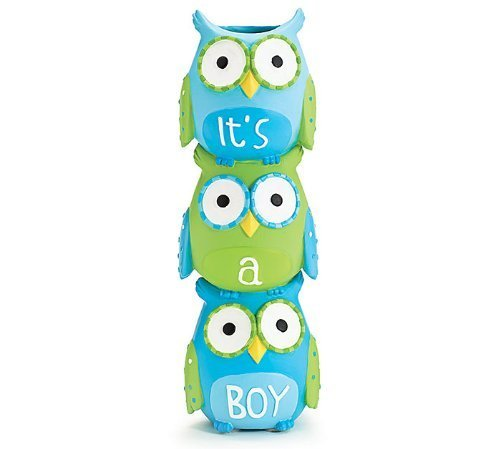 """It's A Boy"" Blue Owl Stacked Vase for Baby Nursery Decor or Baby Shower"