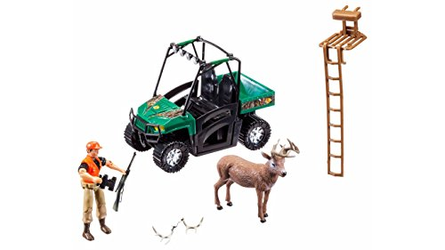 Hunting Playset For Kids, Includes Hunter, UTV, Deer, Tree Stand, and More.