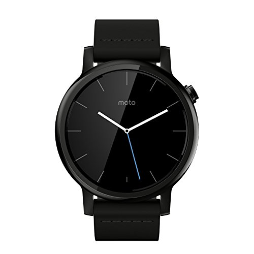 Motorola Moto 360 (2nd Gen.) – Mens 42mm, Black with Black Leather watch