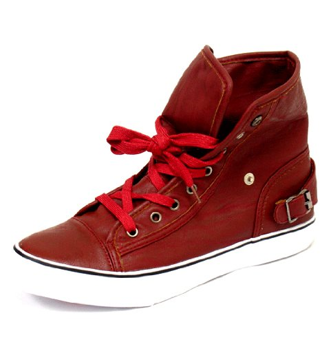 Women's Misbehave Punk Red Fashion Flat Sneaker Boot Shoes, Red, 5.5