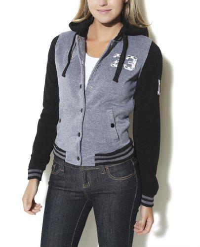Wet Seal Women's Hooded Baseball Jacket M Charcoal