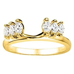 Yellow Plated Sterling Silver Solitaire Ring Wrap Enhancer (0.45 crt. Cubic Zirconia).
